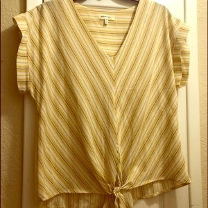 Yellow striped short sleeve blouse